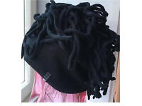Stunning new black fleece hat with dreads