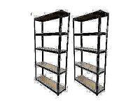 HEAVY DUTY 175kg/shelf BLACK Storage shelves 180cm x 90cm x 30cm Metal Racking Garage £90 delivery