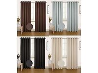 NEW!!! Thermal Blackout Luxury Pair Eyelet Curtains Fully Lined Tie Backs...All Sizes & Colours