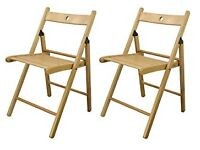 Wooden Folding Chairs - Natural Wood Colour - Pack of 2
