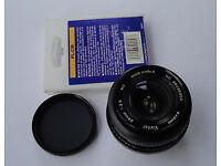 Vivitar 28mm F/2.8 Wide Angle Lens Pentax P/K PK K Bayonet Fit + Hoya Polariser Filter for Cameras