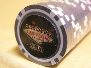 11.5g LAS VEGAS  LASER DESIGN Poker Chips-Sleeve of 25.NUMBER 100 BLACK