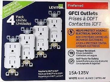 LEVITON GFTR1-4W GFI GFCI 15A TAMPER RESISTANT WHITE 4-PACK  NEW