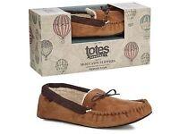 Totes Tan moccasin men's slippers