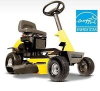 Ride on lawn mower electric rechargeable.