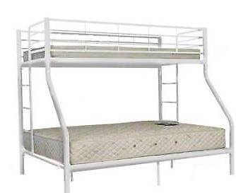 New Bunk Bed Double Bottom Single Top With 2 Foam Mattress Beds