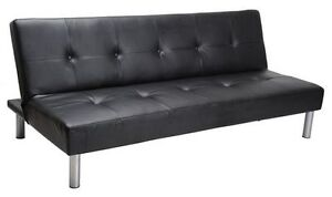 Selling Black Leather Futon Couch