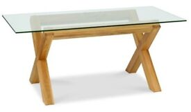 Oakwood glass dining table