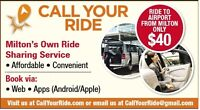 Ride to Airport from Milton, Oakville - Only $40