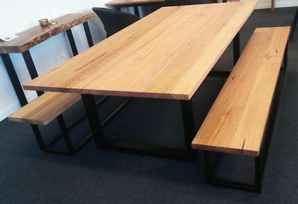 Recycled Messmate Dining Table With Bench Seats