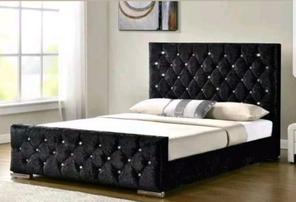 Velvet QUEEN BED BLACK BEIGE SILVER DIAMONDS VS LEATHER FABRIC