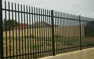 2100 x 2400mm punch thru black powder coated tubular fence