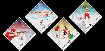 Olympics Rio 2016 set of 4 mnh stamps Malta