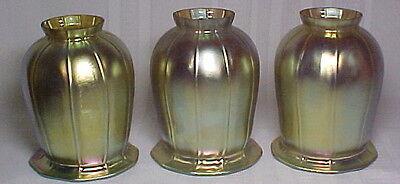 "GOLD SQUASH BLOSSOM ART GLASS LIGHTING SHADES, SET OF 3, 2 1/4"" FITTER~~"