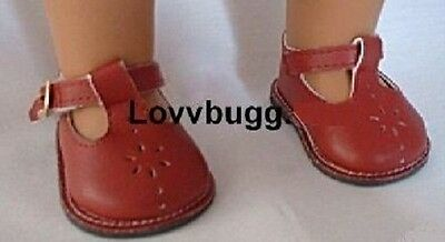 Red T Strap Flower Mary Janes Shoes For 18 American Girl Doll Widest Selection on sale