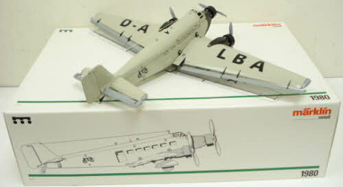 Marklin 1980 Metal Trimotor JU 52/3 Junker Airplane EX/Box