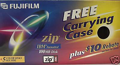 FujiFilm 100MB Zip Disk IBM Formatted 5 count pack with case