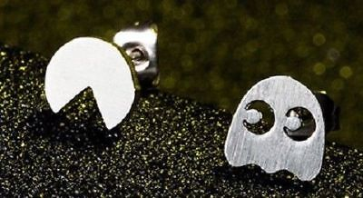 Pac Man Pacman Stud Earrings Silver Plated Computer Game Jewelry Brand New UK Man Stud