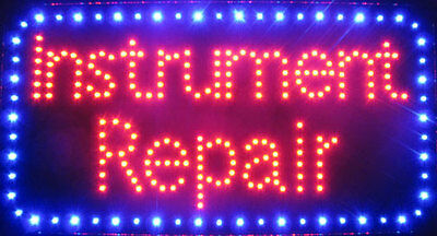Jumbo 13 X 24 Instrument Repair Neon Store Sign Led Blinking Blue Border
