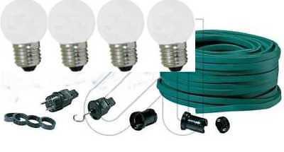 Lichterkette Bausatz Illu Party Biergarten Fassung E27 IP44 10m mit 20 Fassungen