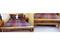 Pine slatted Double Bed and Mattress