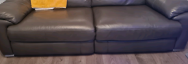 Grey 3 seater Elictric power recliner settee x2