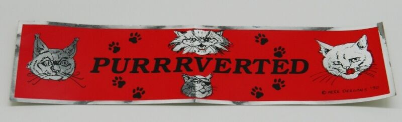 Purrrverted Cat Lovers Spoof Foil Bumper Sticker NEW UNUSED