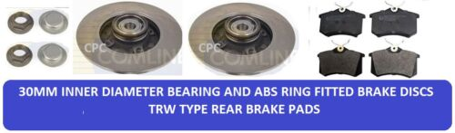 FOR PEUGEOT 307 1.4 1.6 2.0 HDi SW CC REAR BRAKE DISCS BEARING ABS RING PADS 04-