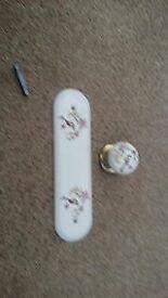 Ceramic Flower Door Handles/Finger plates