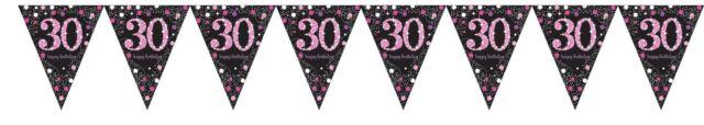 Pink Celebration 30th Prismatic Pennant Banner 4m