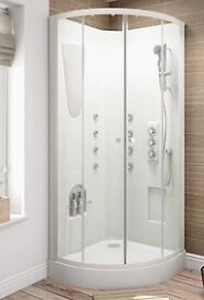900mm Corner Opening Quadrant Shower cabinet Enclosure Cubicle Complete Cabin Enclosure Tray.