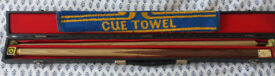 BCE 2 piece snooker cue and case with accessories