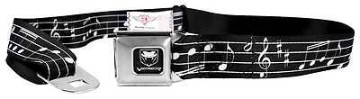 Seatbelt Men Canvas Web Military Dodge Viper SRT Music Notes Black White