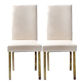 Beige leather dinjng chairs