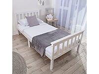 White childrens single bed frame