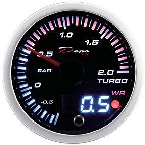 Depo Racing Manometro Pressione TURBO analogico e digitale da 60 SLD6001B