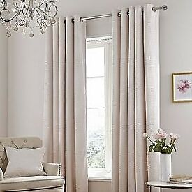 BRAND NEW CHENILLE FULLY LINED EYELET CURTAINS FROM DUNELM. FREE DELIVERY