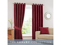 Dunelm luxury collection ringed red curtains