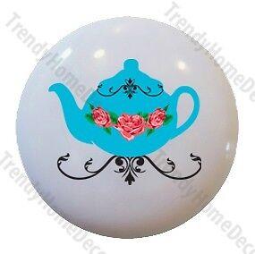 Cute Retro Blue Teapot Cupcake Ceramic Knob Pull Door