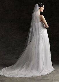 NEW Simple Sweet White Ivory or Champagne Long Cathedral Wedding Veil