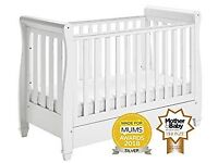 NEW & BOXED Babymore Eva Sleigh Dropside Cot Bed with Drawer – White