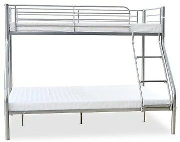Triple metal bunk beds in silver