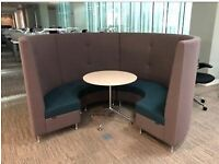 Senator 6 Person Booth Seating Set with White Round Table, Grey & Teal