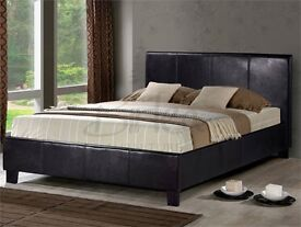 BUY -- Special Offer KING SIZE - 5FT X 6.3 FT **NEW ** Leather Bed With Comfy Orthopaedic mattress