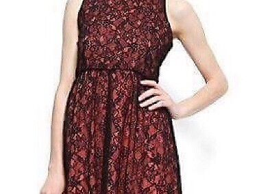 Preloved Mango Red Pink L Dress with Black Floral Lace