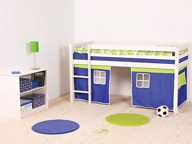 Mid Sleeper Bed in NATURAL with blue & yellow play curtains | in ...