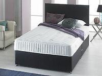 MEMORY FOAM CHENILLE DIVAN BED + MATTRESS + HEADBOARD 3FT 4FT 4FT6 Double 5FT