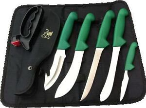 Buffalo River 6 Piece Knife Roll Set Hunters Knife Set Deer Hunting Butcher