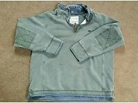 Mens Winter Green Grey Fat Face Jumper Sweater Top Large