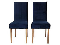 Collection Pair of Velvet Skirted Chairs - Matt Navy